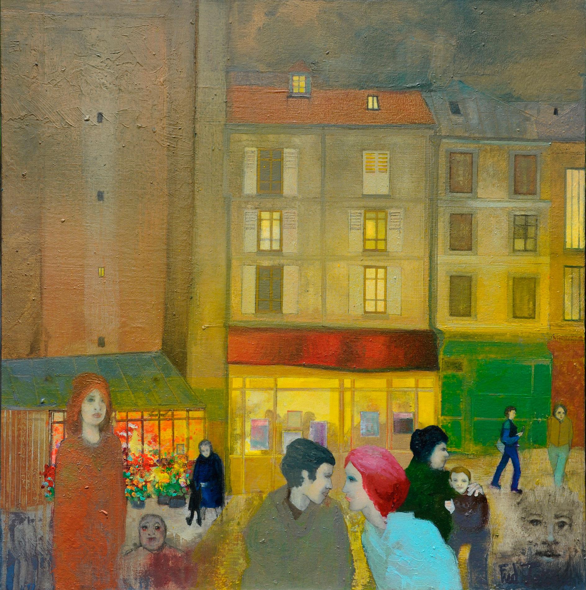 """""""Rue des Abesses"""" - Huile sur Toile - 80x80cm du peintre Frédéric Latrace"""