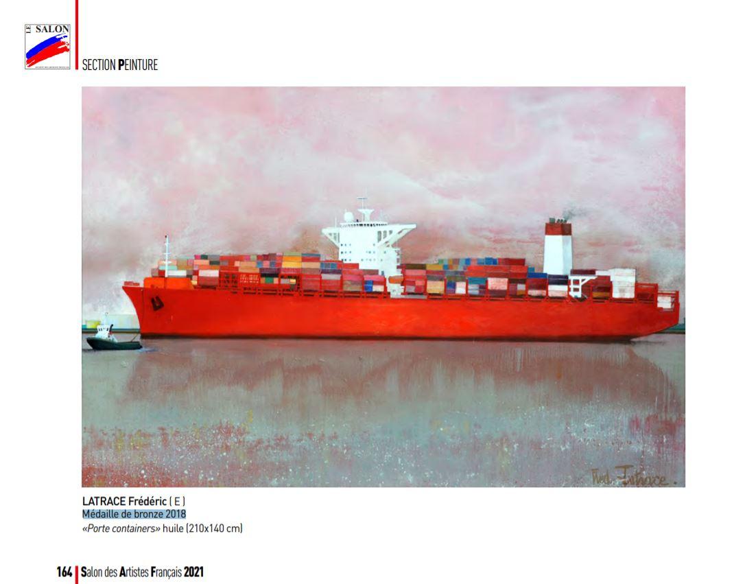 « Porte containers » de Frédéric Latrace - Huile sur toile de 210x140cm - Médaille de bronze du Salon des Artistes français 2018