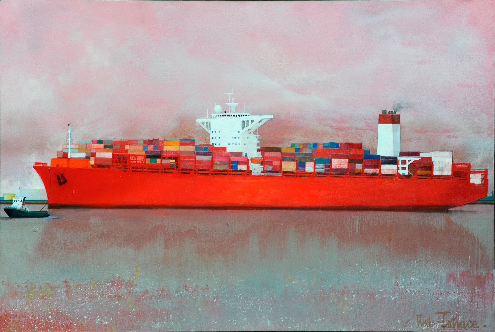 « Porte containers » de Frédéric Latrace - Huile sur toile de 210x140cm