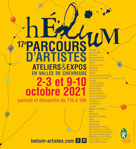 17e PARCOURS D'ARTISTES Hélium ateliers & expos 2-3 et 9-10 octobre 2021 en vallée de chevreuse