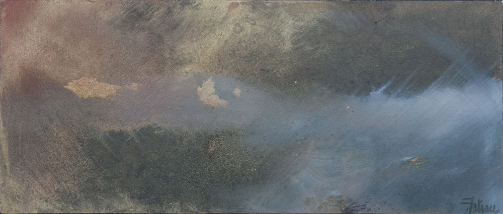 ILE DE BATZ de jour- Huile sur Papier Marouflé de 61x26cm - Peintre Frédéric Latrace
