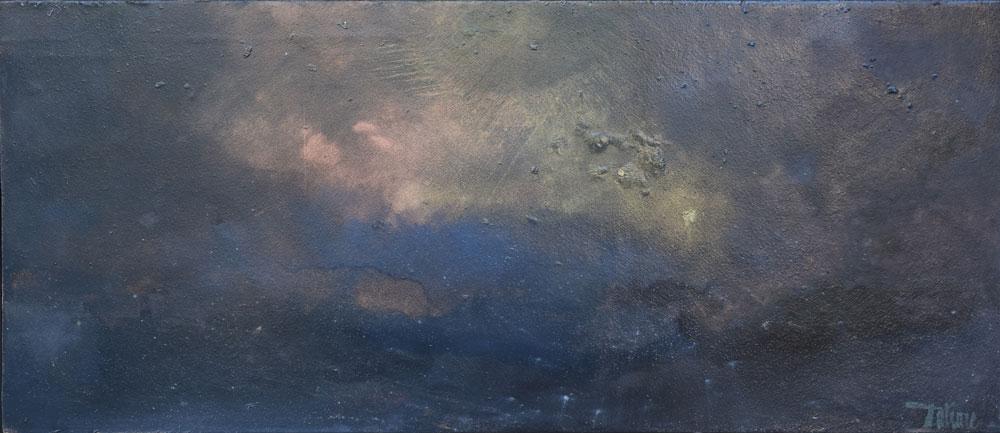 ILE DE BATZ de nuit - Huile sur Papier Marouflé de 61x26cm - Peintre Frédéric Latrace