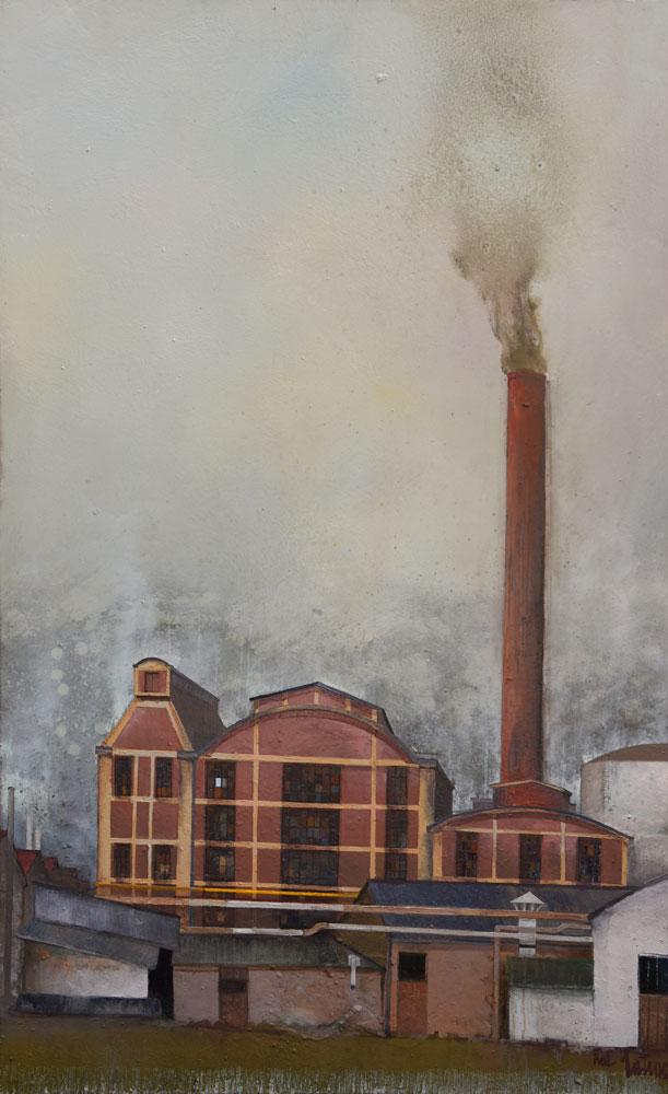 USINE DUNLOP de MONTLUCON - Huile sur Toile de 130x81cm - Peintre Frédéric Latrace