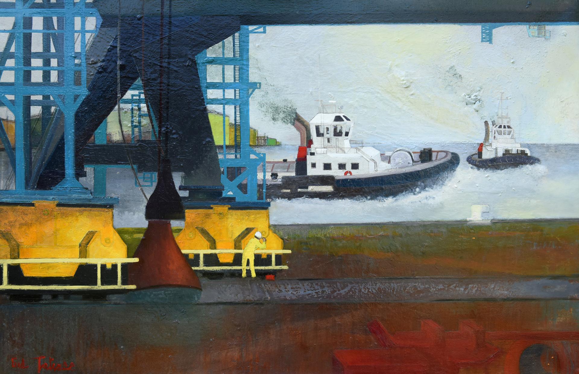 ROTTERDAM - Huile sur Toile de 100x65cm - Peintre Frédéric Latrace