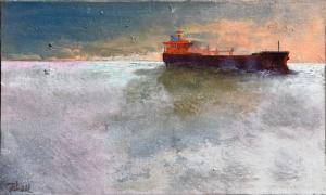 le Tanker - Huile sur toile - 10M - 55x33