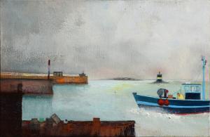 Roscoff - Le port - Huile sur toile - 6P - 41x27